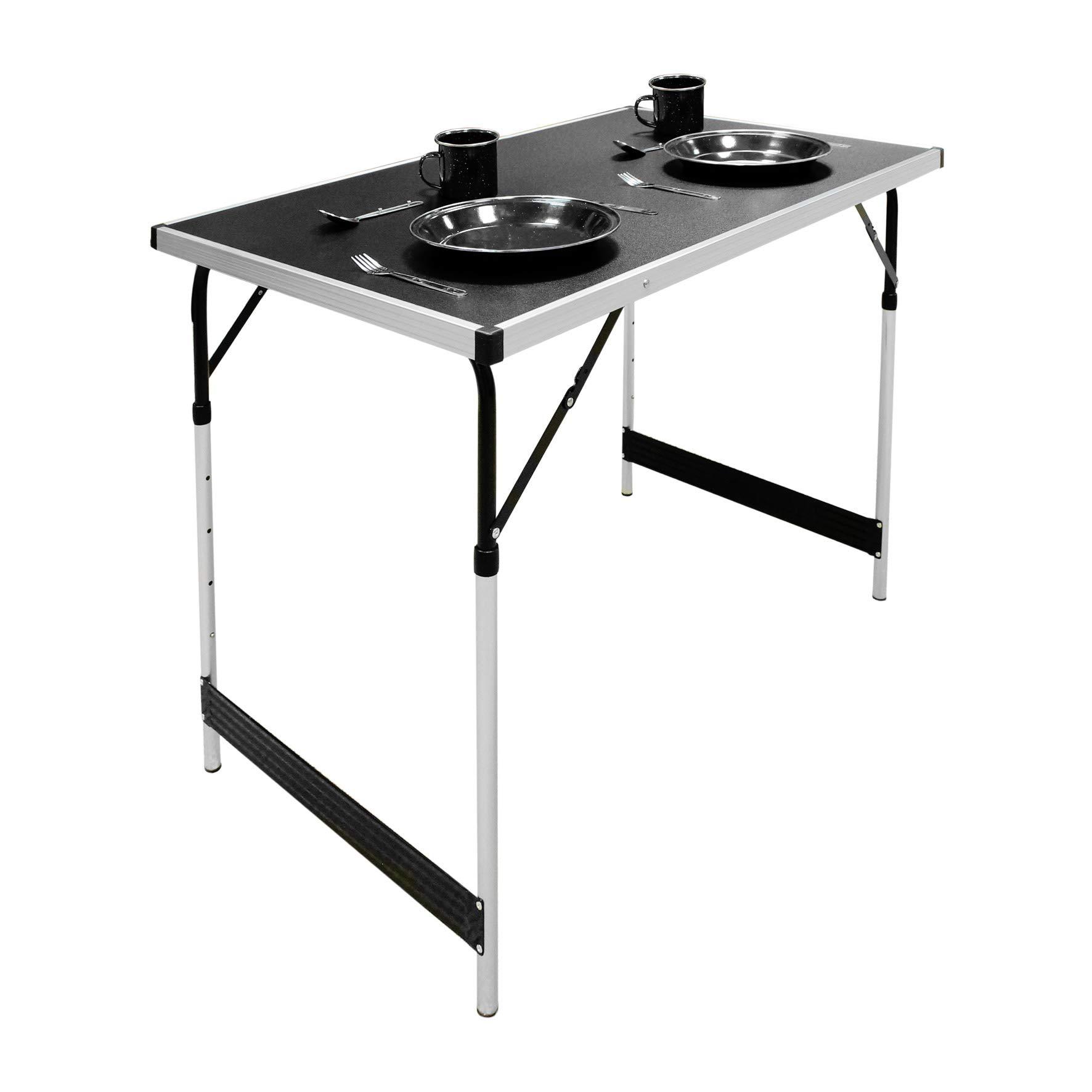 Tavolo Pieghevole In Alluminio.Milestone Tavolo Pieghevole Da Campeggio In Alluminio Colore Nero