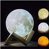 Impresión 3d lampara luna - 15cm recargable patrón de superficie lunar lampara luna llena con la carga del USB y 3 colores qu