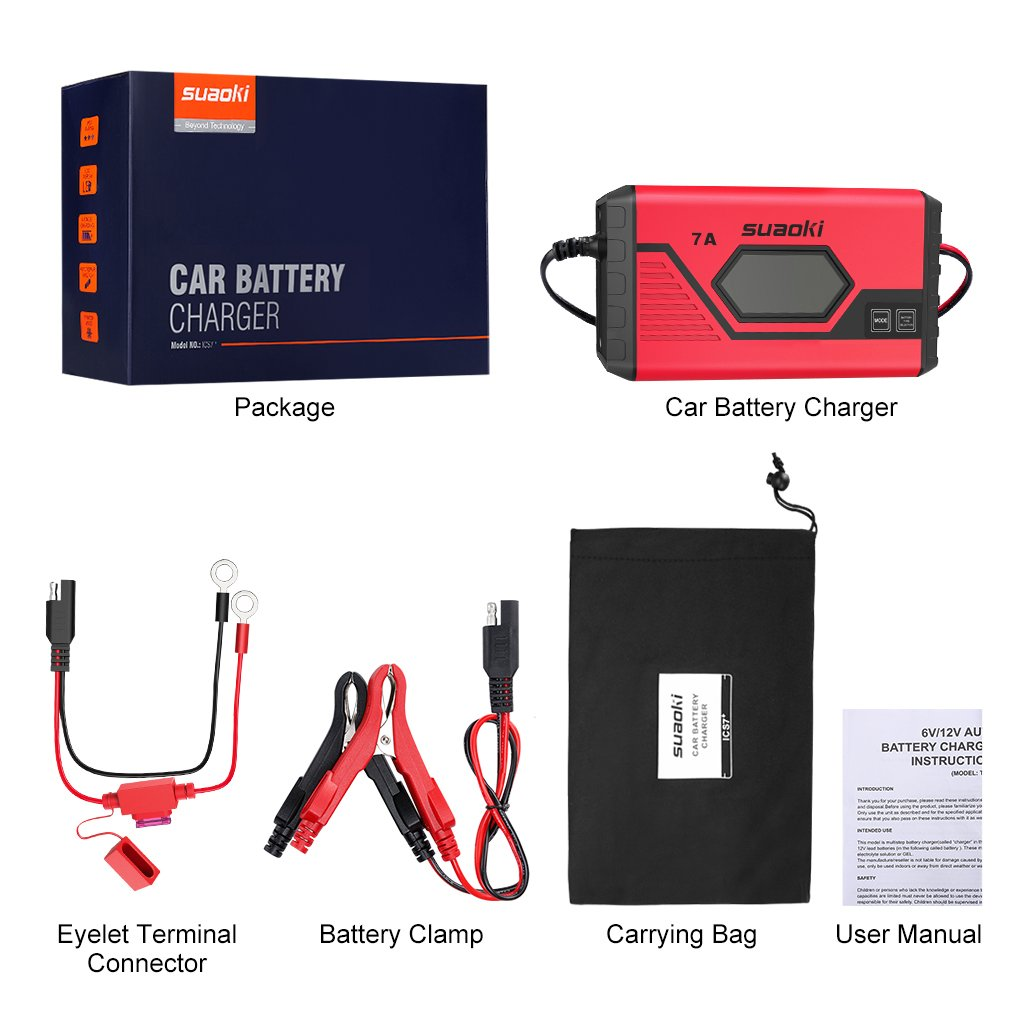 Suaoki 7a Fast Car Battery Charger Maintainer Ultra Safe Smart 9 Motorcycle Wiring Connectors Uk