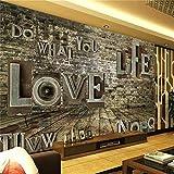 Wandbild, 3D Benutzerdefinierte Wohnzimmer Wandbild Retro Brief Ziegel Wandmalerei Sofa Tv Hintergrund, 366 Cm (B) X 254