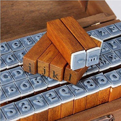 CCINEE Juego de 70 tampones estilo vintage de madera y de goma con las letras del alfabeto y los números