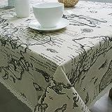 DKEyinx Europäischen Stil Weltkarte Baumwolle Leinen Tischdecke Home Küchentisch Dekoration, Baumwolle + Leinen 90 * 90cm