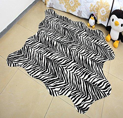 GRENSS Kreative mat Zebra Leopard Kuhfell Teppich faux Rindsleder Tricolor Kuhfell Teppich Tier gedruckt Teppich für Badezimmer Dekoration Matte, 140 X 160 CM -