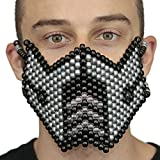 Metallic Silver Sub Zero Kandi Mask by Kandi Gear, rave mask, halloween mask, beaded mask, bead mask for music fesivals and parties