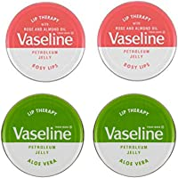 Vaselina Lip Balm Petroleum Jelly 20g, 2 labbra rosee e 2 aloe vera