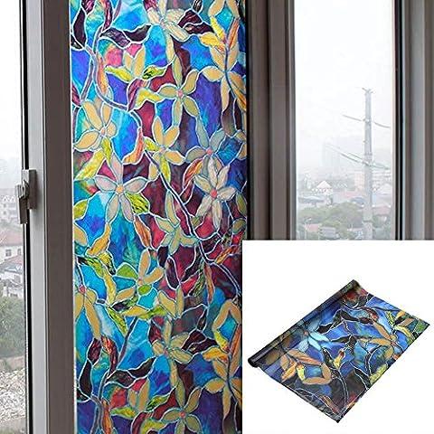 Verre Givré fenêtre Stickers, Autocollants, Window film de confidentialité vitrail électrostatique Verre Décor, 45x 200cm (Coloré Fleur)