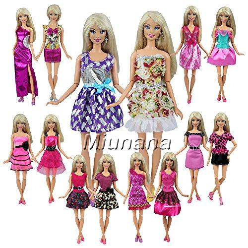 Fashionista Prinzessin Puppen Barbie (Miunana 12 Stück Abendkleid Kleid Kleidung Partymode Prinzessinnen Fashionistas für Barbie Puppen Geschenke)