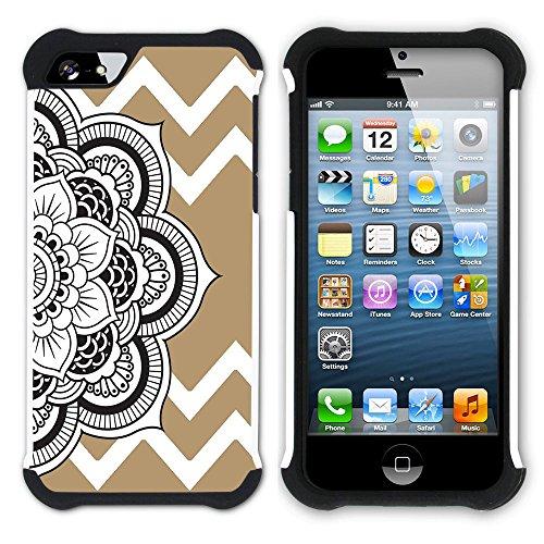 Graphic4You Mandala Blume Winkel Muster (Wasserblau) Hart + Weiche Kratzfeste Hülle Case Schale Tasche Schutzhülle für Apple iPhone SE / 5 / 5S Hellbraun