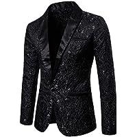 DuangDuang Men's Pure Color Jacquard Fashion Formal wear Men's Lapel Suit Fashion Evening Dress Wedding Blazer Halloween
