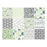 Sticker Carrelage - Carreaux de Ciment - Natur Green - 12 pièces (20 x 20 cm)