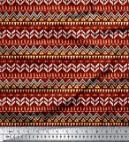 Soimoi Rojo rayo de crepé Tela tienda tribal tela estampada de costura de tela 46 Pulgadas de ancho