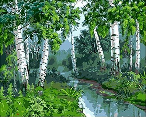 obella Malen nach Zahlen Kits    River Trees 50x 40cm    Malen nach Zahlen, DIGITAL Ölgemälde, rahmenlose