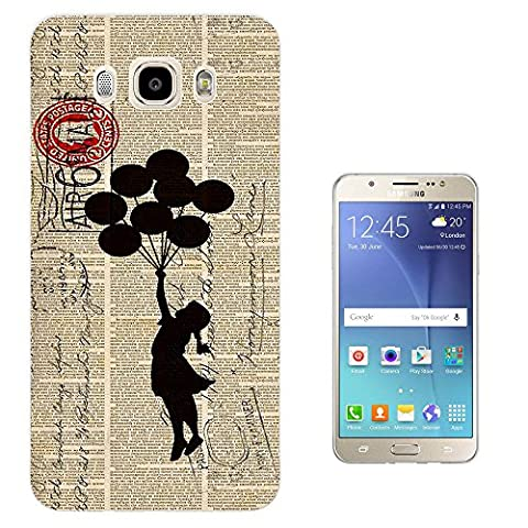 505 - Banksy Graffiti Floating Balloons Stamps Design Samsung Galaxy J7 (2016) J710FN Fashion Trend Protecteur Coque Gel Rubber Silicone protection Case Coque