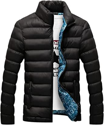 Men's Casual Thicken Plus Size Packable Stand Collar Short Slim Fit Down Puffer Jacket Outdoor Padded Coat