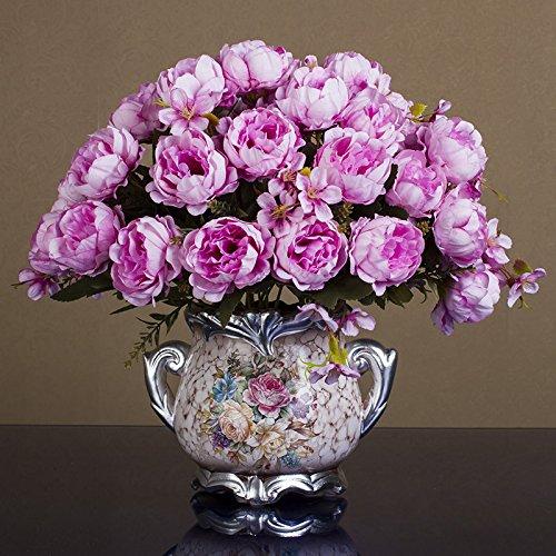 Self-My Künstliche Blumen Continental Emulation Wohnzimmer Home Topfpflanzen Ornamente Swing In-Room Dining Table Couchtisch Kunststoff See Blau 5 Toner Reichen Pfingstrose Ohren. Gefälschte Blumen (See-brautstrauß)