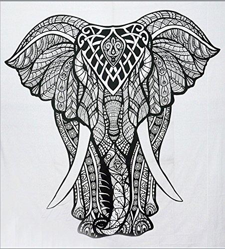 Indio tapices elefante Mandala Hippie Tapiz indio tradicional manta playa manta decorativo College dormitorio bohemio colgante de pared Boho doble colcha por Sophia Art