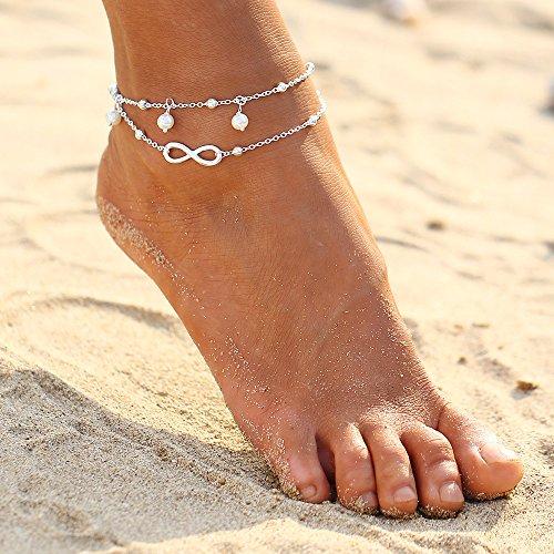 PinzhiMode Frauen Fußkettchen Knöchel Kette Armband Barfuß Sandale Strand Fußschmuck