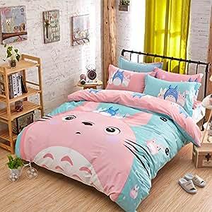 Motif cartoon 3d Motif totoro Ensemble de linge de lit pour enfants et jeunes adultes avec housse de couette et drap-housse de coussin Coque princesse-lit