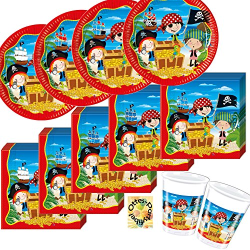 Kleiner Pirat Little Pirates Partyset 40 Teile Teller Becher Servietten für 10 Piraten