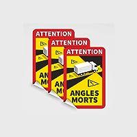 3 Stk. Toter Winkel Frankreich für LKW - selbsthaftende Folie Saugnapffolie 25 cm x 17 cm Frankreich, Attention – Angles…