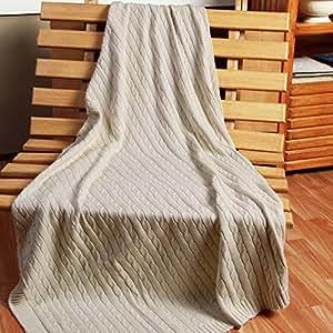 homescapes kuschelweiche heimdecke natur mit zopfmuster 170 x 130 cm 100 reine baumwolle. Black Bedroom Furniture Sets. Home Design Ideas