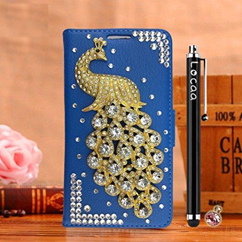 Locaa(TM) Pour Apple IPhone 7 Plus IPhone7+ (5.5 inch) 3D Bling Paon Case Coque Fait filles Cuir Qualité Housse Chocs Étui Couverture Protection Cover Shell Romantique [Paon 2] Rose - Paon Perle Bleu - Paon Blanc
