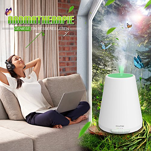Aroma Diffuser 300ml InnooCare Ultraschall Luftbefeuchter Aromatherapie Ätherischesöl Oil Diffusor mit 7 veränderbaren farbigen LED Lichter verstellbarer Nebel und Zeit Modus