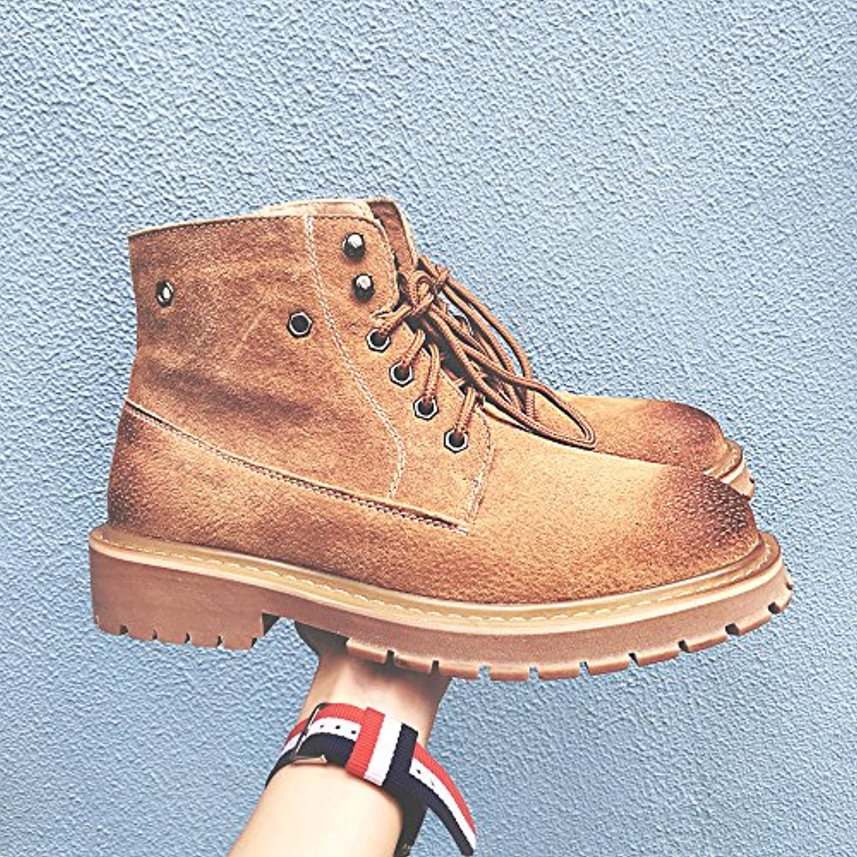 HL-PYL botas botas Martin Coreano Inglés alto hombres zapatos botas cortas botas Retro,41,amarillo  -