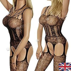 14b-new arrival-fishnet Noir pour Femme, corset porte-jarretelles en Boutique Combinaison Body rayures Lune de miel Motif cadeau d'anniversaire
