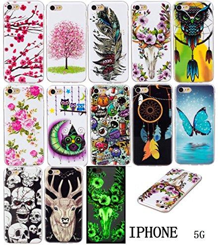iPhone 5/5S/SE Hülle, E-Lush TPU Soft Silikon Tasche Transparent Schale Clear Klar Hanytasche für Apple iPhone 5/5S/SE Durchsichtig Rückschale Ultra Slim Thin Dünne Schutzhülle Weiche Flexibel Handyhü Sika