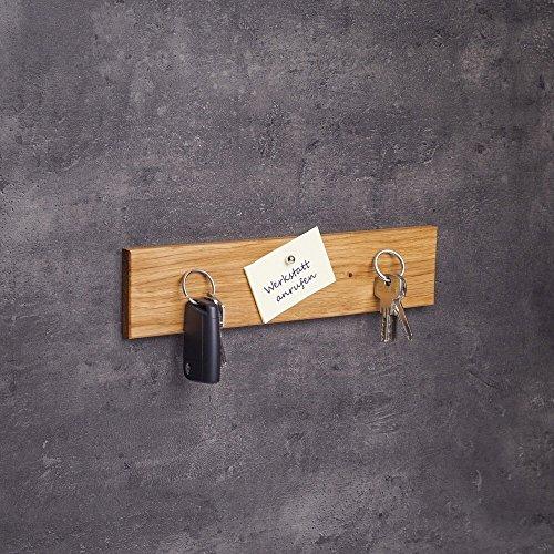 Schlüsselbrett magnetisch Holz | Handgefertigt in Bayern | Schlüsselhalter Magnet | Schlüsselkasten Schlüsselleiste Schlüsselboard Messerleiste | 30cm Eichen-Holz
