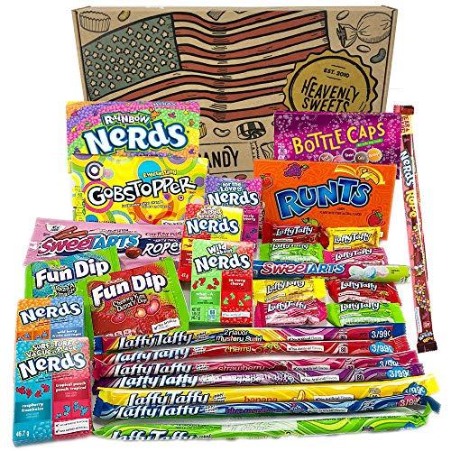 Großer Amerikanische Wonka-Süßigkeiten Geschenkkorb | Süßigkeiten aus den USA | Auswahl beinhaltet Wonka Nerds, Gobstoppers | 29 Produkte in einer tollen retro Geschenkebox -