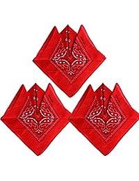 QUMAO (100% Baumwolle 3stk, 4stk, 6 stk Paisley Bandana Halstuch 55 x 55 cm Kopftuch Armtuch Mischfarben Haar, Hals, Kopf Schal Nickituch Vierecktuch