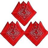 Pack de 3(100% Algodón) Pañuelos Bandanas de Modelo de Paisleypara Cuello / Cabeza Multicolor Múltiple para Mujer y Hombre (Pack de 3; Rojo)