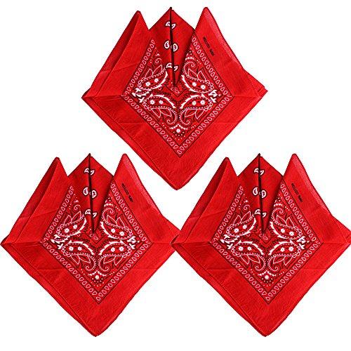 QUMAO Pack de 3 Pañuelos Bandanas de Modelo de Paisley para...