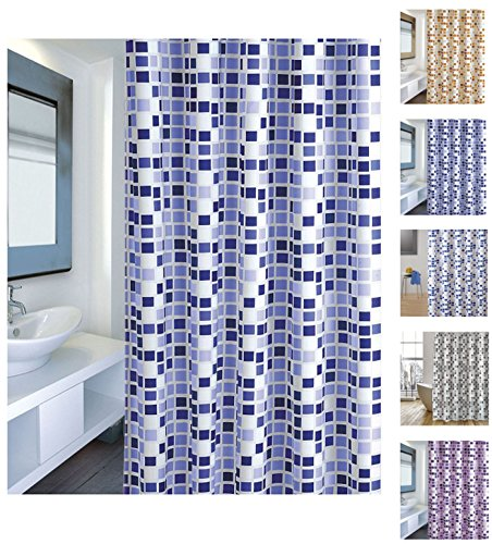 12 X 12 Mosaik (Cotexsa by MSV 142103 Premium Anti-Schimmel Textil Duschvorhang - Anti-Bakteriell mit 12 Duschvorhangringen - Polyester,
