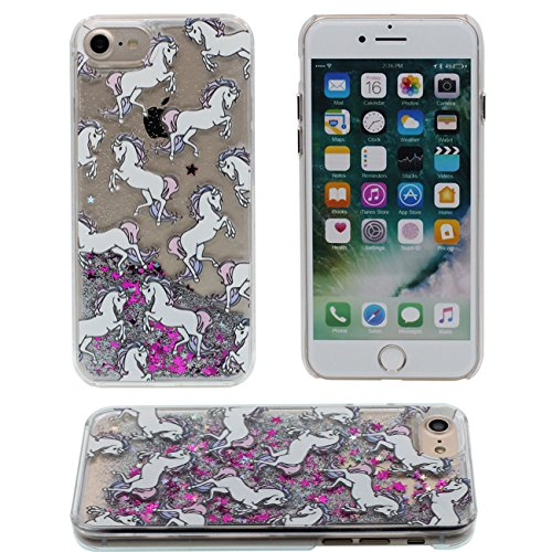 iPhone 7 Coque, Charmant Animal Girafe Motif Série Flowable Eau Étoiles Dur Clair Plastique Transparent Housse de Protection Case pour Apple iPhone 7 4.7 inch color-1