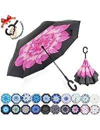 ZOMAKE Reversion Regenschirm, Innovative Schirme Double Layer Winddicht Regenschirm Freie Hand Taschenschirm Inverted Stockschirme mit C Griff für Reisen und Auto Outdoor di