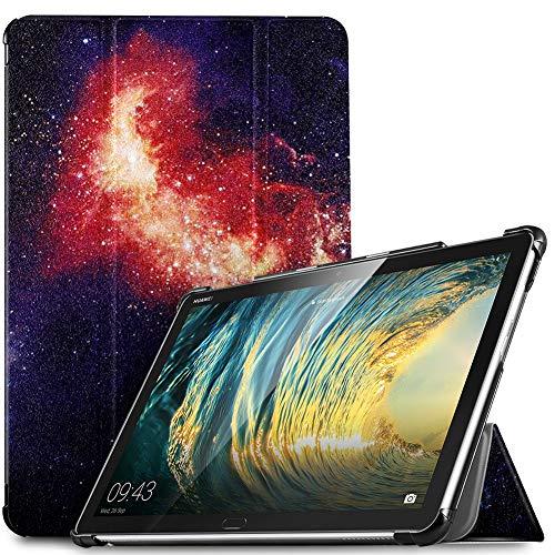 IVSO Hülle für Huawei MediaPad M5 Lite 10, Ultra Schlank Slim Schutzhülle Hochwertiges PU mit Standfunktion Ideal Geeignet für Huawei MediaPad M5 Lite 10 10.1 Zoll 2018 Modell, Navy Night Sky