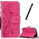 iPhone 5/5s/SE Phone Flip Case Cover, Slynmax [Floral Series] Premium PU Protective Flip Folio Leather Cell Phone Case Embossed Flower Pattern for Lady Girl Ultra Slim Fit Bookstyle Cover with Folding Stand Card Holder Organizer Business ID Slots Money Pouch Walllet Purse Magnetic Closure Cover Silicone TPU Soft Inner Shockproof Protective Case Smart Shell for iPhone 5/5s/SE+ 1* Stylus Pen