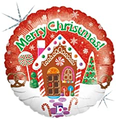 Idea Regalo - Betallic F86383 - Foil balloon - Merry Christmas Cottage, 18 pollici, olograficamente