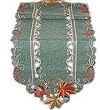 Tischdecken HERBST klassisch TISCHDECKE 40 x 140 cm spitzoval Tischläufer Deckchen LEINENoptik grün BLÄTTER terrakotta beige gestickt HERBST (Tischläufer 40x140 cm oval)
