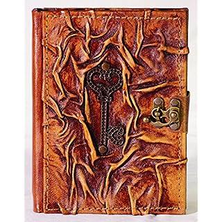 Notizbuch Leder Schlüssel Tagebuch mit Verschluß 300 Seiten Mittelalter Lederbuch Diary Posesiealbum Gästebuch