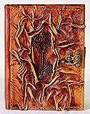 Vintage Notizbuch aus echtem Leder | Herzschlüssel | Handarbeit | Braun | Größe M – 18,5 x 14,5 x 2,3 cm | 300 elfenbeinfarbene blanko Seiten