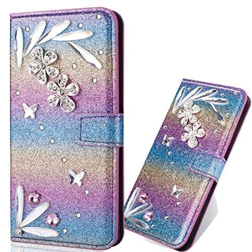 Bling Glitzer Slim Modisch Ledertasche Wallet Hülle für Samsung A10e,Glitter Diamond Love Hearts Musterg Stand Funktion Soft Bookstyle Karteneinschub Magnetverschluss Flip Schutzhülle Handy-cover Rainbow Glitter