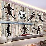 Wallpaper Experten Benutzerdefinierte Wandbild Tapeten Für Wände 3D Holz Board Mann Fußball Fußball Tapeten Home Decor Wohnzimmer Hintergrund Wandmalerei 200cmX140cm(78.7 by 55.1 in )