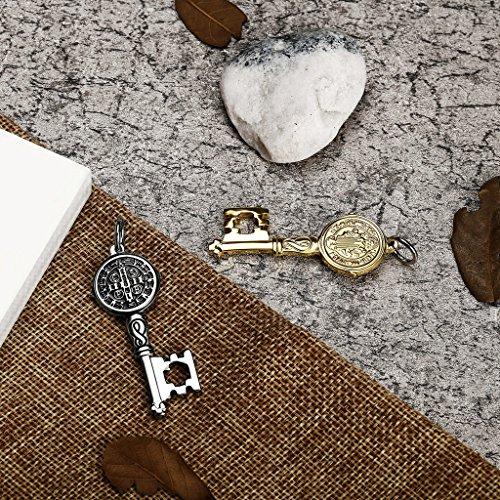 AnaZoz Bijoux de mode collier pendentif unisexe acier inoxydable ronde Clé Pendentif Collier pour unisexe argent