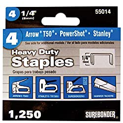 Surebonder 55014 Heavy Duty 1/4-Inch Length Staples, Arrow T50 Type, 1250 Count