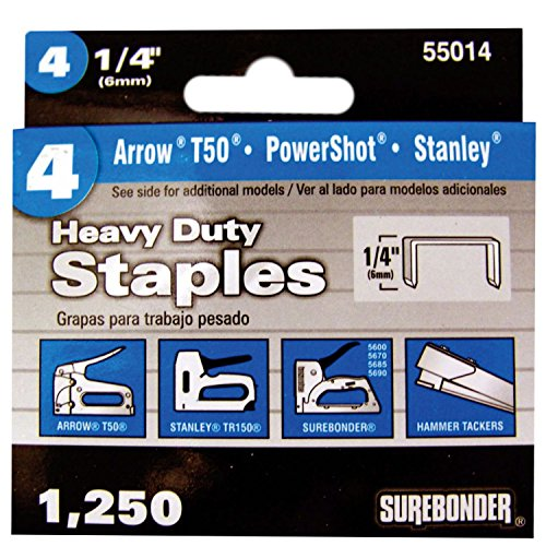 Surebonder 55014 Heavy Duty 1/4-Inch Length Staples, Arrow T50 Type, 1250 Count