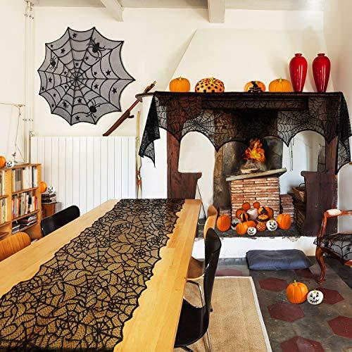 Boao 3 Stücke Halloween Dekoration Satz, Runde Spinnen Netz Tischdecke, Spinnen Netz Kamin Schal, Halloween Spinnen Netz Tisch Läufer für Abendessen Party, Festival Party -